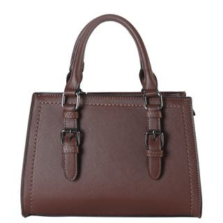 Diophy Faux Saffiano Leather Front Buckle Decor Structured Medium Tote Bag|https://ak1.ostkcdn.com/images/products/13925529/P20558525.jpg?impolicy=medium