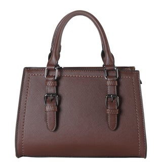 Diophy Faux Saffiano Leather Front Buckle Decor Structured Medium Tote Bag