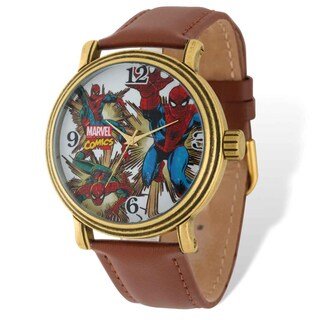 Marvel Stainless Steel Men's Spiderman Brown Leather Band Gold-tone Watch