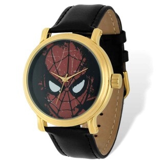 Marvel Stainless Steel Men's Spiderman Black Leather Gold-tone Watch