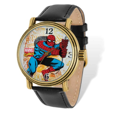 Marvel Stainless Steel Men's Spiderman Black Leather Band Watch