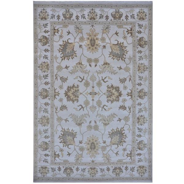 Handmade Herat Oriental Indo Tribal Oushak Wool Rug - 10' x 14'2 (India)
