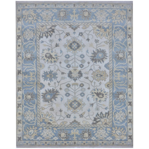 Herat Oriental Indo Hand-knotted Tribal Oushak Wool Rug (8'1 x 9'9)