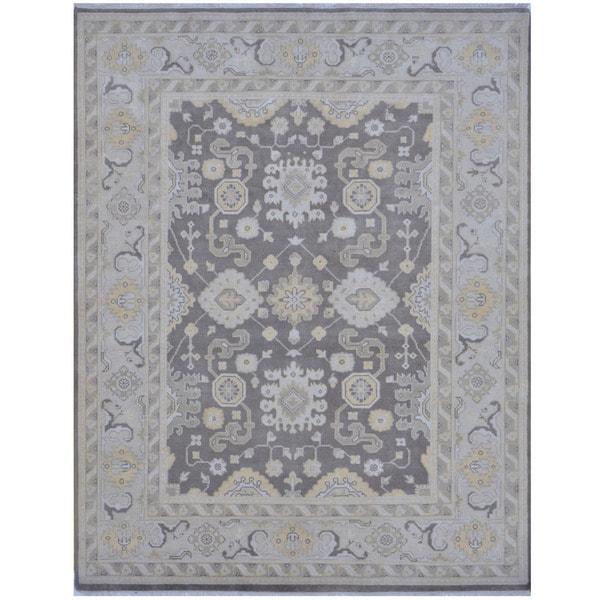 Handmade Herat Oriental Indo Tribal Oushak Wool Rug - 7'11 x 9'11 (India)