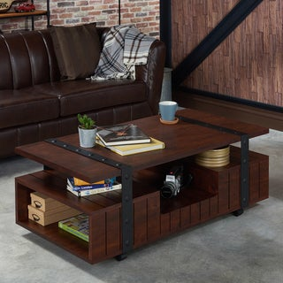 Furniture of America Bridges Industrial Vintage Walnut Plank Style Coffee Table