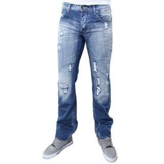 JSM Men's Blue Cotton Distressed Straight-leg Jeans