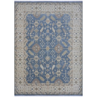 Herat Oriental Indo Hand-knotted Tribal Oushak Wool Rug (9' x 12')