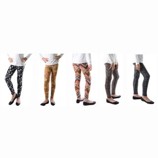 Multicolored Spandex Abstract Printed Legging (Pack of 5)