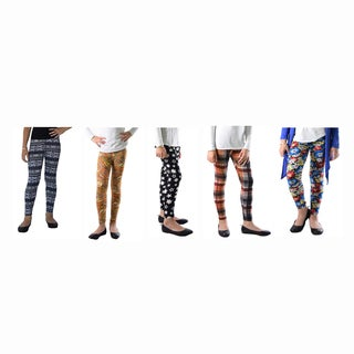 Dinamit 5 Packs of Fun Color Spandex Abstract Printed Legging