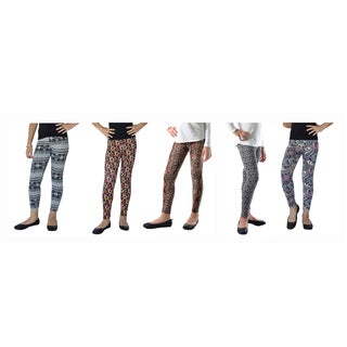 Spandex Tribal Abstract Printed Legging (Pack of 5)