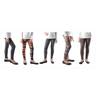 Dinamit Women's Multicolored Spandex Printed Legging (Pack of 5)
