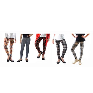 Multicolored Spandex Plaid Azteck Printed Legging (Pack of 5)
