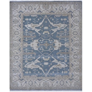 Herat Oriental Indo Hand-knotted Tribal Oushak Wool Rug (8'2 x 9'11)