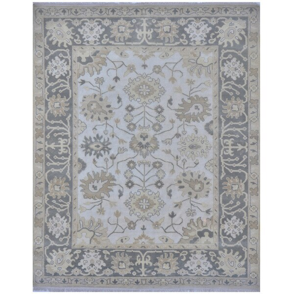 Herat Oriental Indo Hand-knotted Tribal Oushak Wool Rug (8' x 9'10)