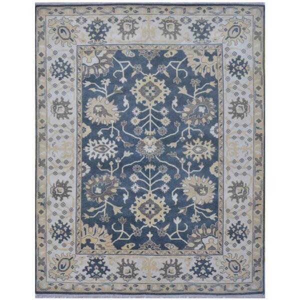 Handmade Herat Oriental Indo Tribal Oushak Wool Rug - 8'1 x 10' (India)