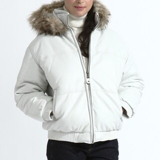Ladies White Leather Bubble Bomber Jacket with Hood
