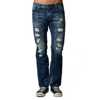 Men's Distressed Dark Blue Denim 5-pocket Jeans