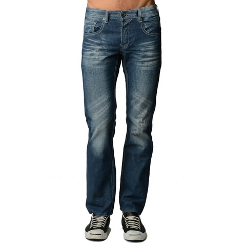 Dinamit Men's Blue Denim 5-pocket Classic Jeans with Abrasions