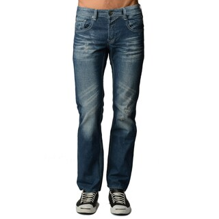 Dinamit Men's Blue Denim 5-pocket Classic Jeans with Abrasions