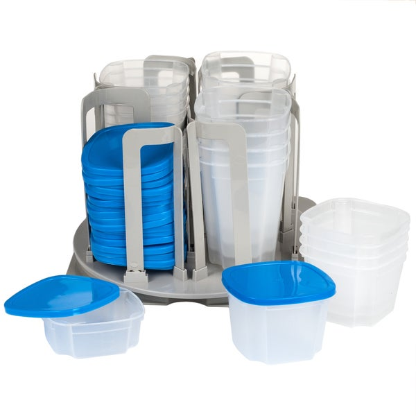 Storage Container Carousel Organizer BPA Free Food Bowl and Lid Rack System by Chef Buddy