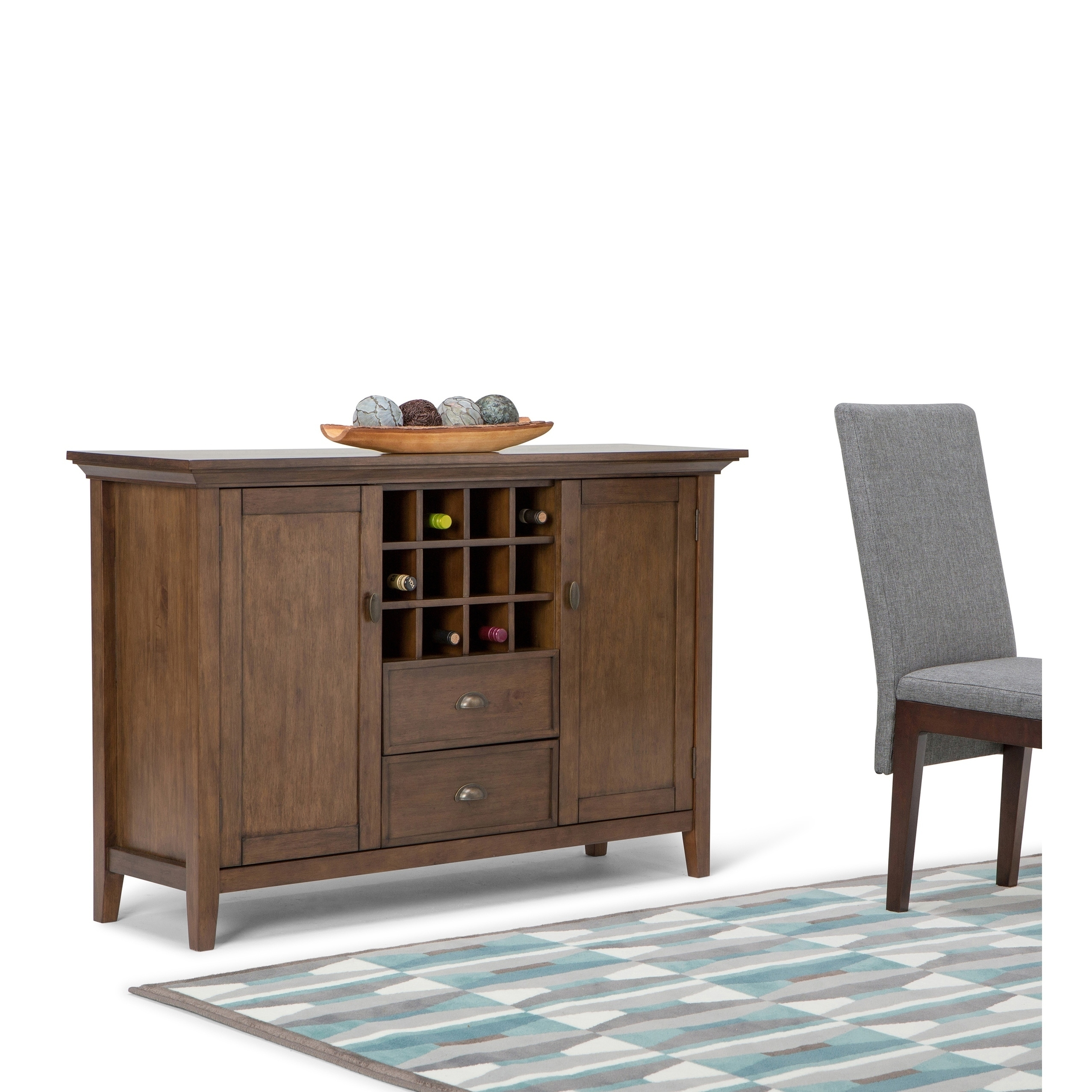 buy online 9a4c6 2f8e8 WYNDENHALL Mansfield Solid Wood 54 inch Wide Rustic Sideboard Buffet  Credenza and Winerack in Rustic Natural Aged Brown