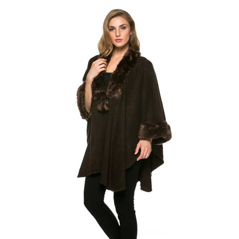 High Secret Women's Brown Faux-fur Knit 3/4-sleeves Open-front Poncho Cardigan