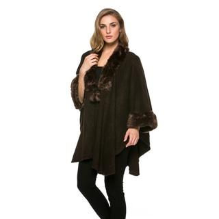 High Secret Women's Brown Faux-fur Knit 3/4-sleeves Open-front Poncho Cardigan