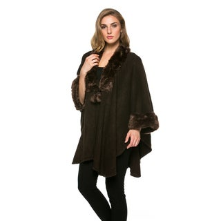 High Secret Women's Brown Faux-fur Knit 3/4-sleeves Open-front Poncho Cardigan|https://ak1.ostkcdn.com/images/products/13926022/P20558911.jpg?_ostk_perf_=percv&impolicy=medium