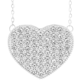 Matashi 18k White Gold Necklace Crystal Encrusted Heart Necklace
