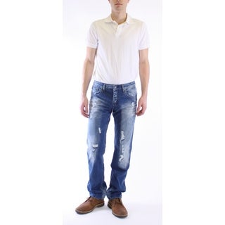 Dinamit Men's Classic Straight Leg Jeans with Distressed Finish