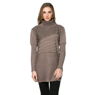 High Secret Women's Wool and Cashmere Striped Knit Turtleneck Tunic (Option: Khaki)