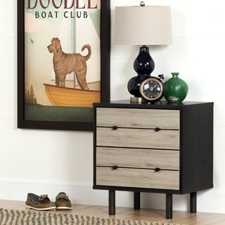 South Shore Morice Mid-Century Modern Ebony and Rustic Oak 2-drawer Nightstand