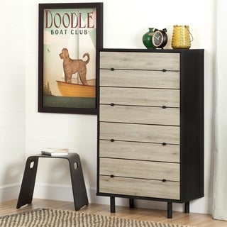 South Shore Morice Mid-Century Modern Ebony and Rustic Oak 4-Drawer Chest