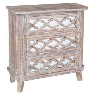 Kosas Home Trellis Antique White Mirrored Reclaimed Teak 3 Drawer Dresser