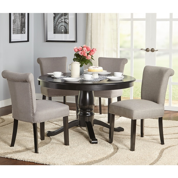 Simple living 5 piece adeline pedestal dining set free for 5 piece living room table set