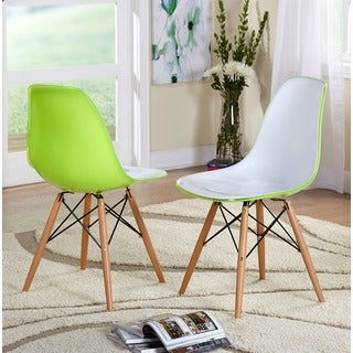Simple Living Burlington Glossy White/ Green Chairs (Set of 2)