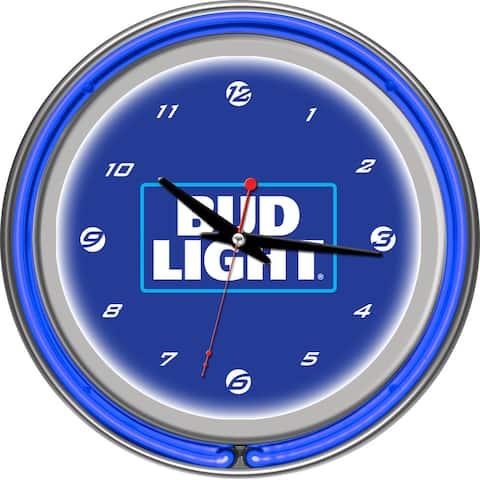 Bud Light 14 Inch Neon Wall Clock - Block Text