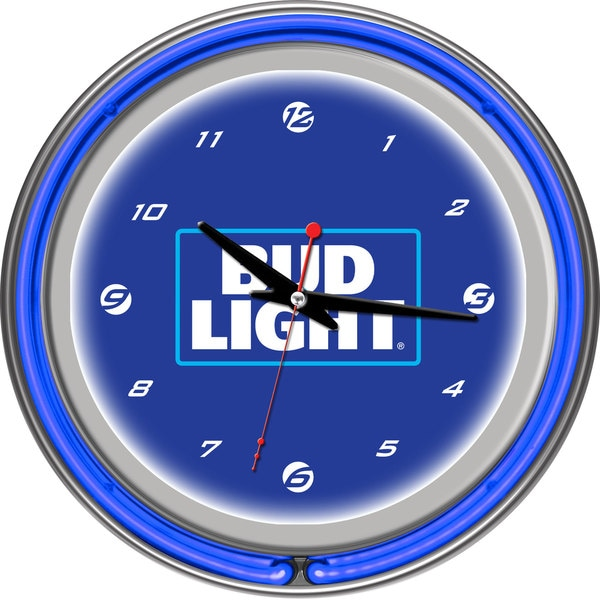 Bud Light 14 Inch Neon Wall Clock - Block Text. Opens flyout.