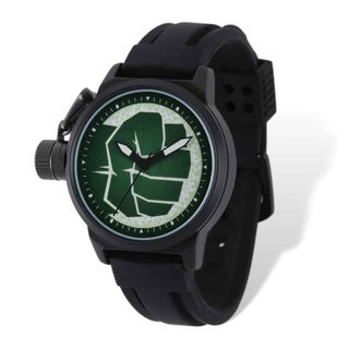 Marvel Stainless Steel Men's Hulk Black-plated Left Hand Watch