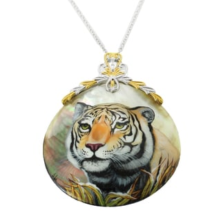 "One-of-a-kind Michael Valitutti ""Tiger"" Hand-Painted Mother-of-Pearl Shell and Pear White Topaz Pendant"