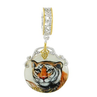"""One-of-a-kind Michael Valitutti """"Tiger"""" Hand-Painted Mother-of-Pearl Shell Charm"""