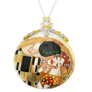 "One-of-a-kind Michael Valitutti ""The Kiss"" Hand-Painted Mother-of-Pearl Shell and Pear White Topaz Pendant"