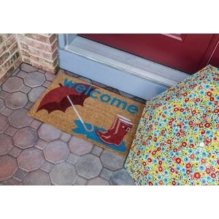 Boots and Umbrella Nonslip Multicolored Coir Doormat