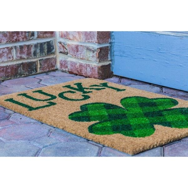 Lucky Four Leaf Clover Beige Green Coir Doormat