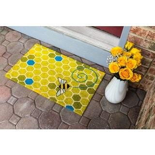 Honeycomb Nonslip Multicolored Coir Doormat (1'5 x 2'4)