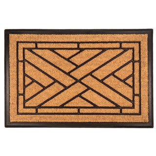 Diagonal Tiles Recycled Rubber/Coir Doormat (24 Inches x 36 Inches)