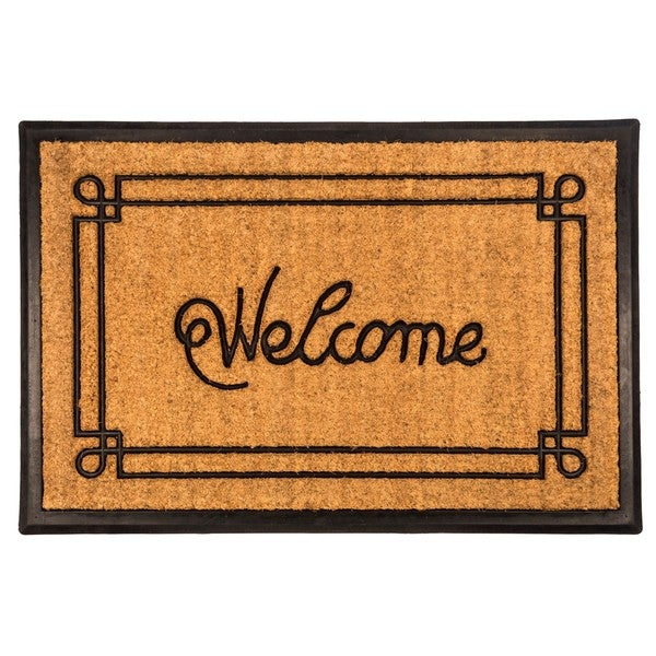 Welcome With Border 24x36 Recycled Rubber And Coir Doormat