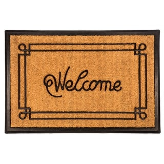 Welcome Recycled Rubber/Coir Bordered Doormat