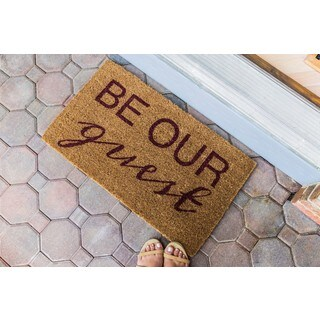 'Be Our Guest' Handwoven Multicolored Coconut Fiber Doormat
