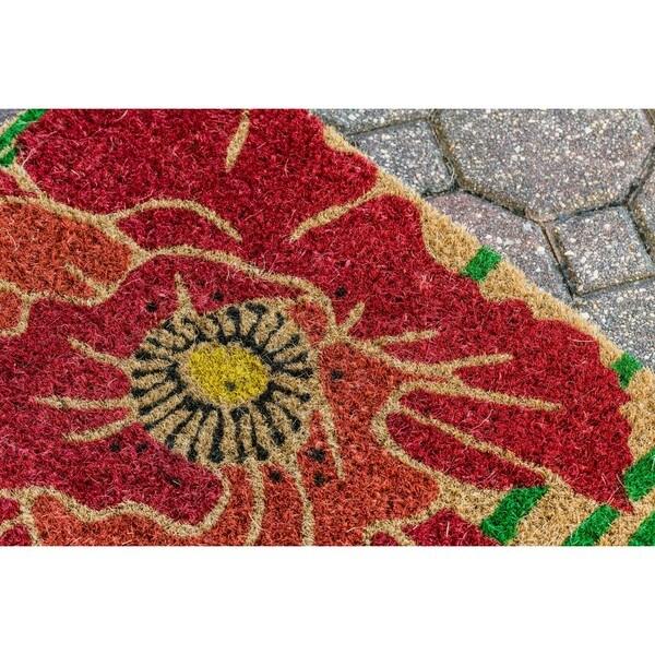 'Red Bloom' Multicolor Coir Handwoven Coconut Fiber Doormat